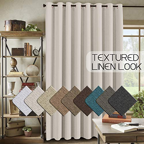 Room Darkening Linen Curtain for Sliding Door (100
