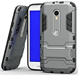 Heartly Graphic Designed Stand Back Case For Motorola Moto G3 / Moto G 3Rd Generation / Moto G Turbo - Metal Grey
