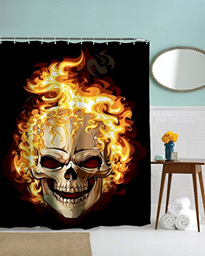 Yomyceo Burning Skeleton Red Fire Halloween Rust Proof Grommets Faric waterpoor Shower Curtain Skeleton Fabric Bathroom Decor Set with Hooks 72X72Inch by Yomyceo