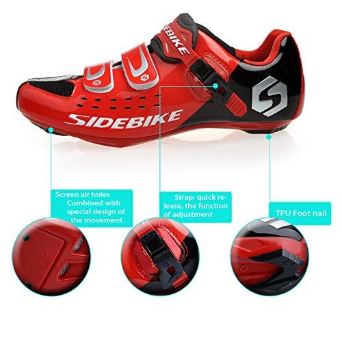 KUKOME Sidebike Road Cycling Schuhe & Pedale in verschiedenen Größen und Farben Schwarz Rot + Schwarz