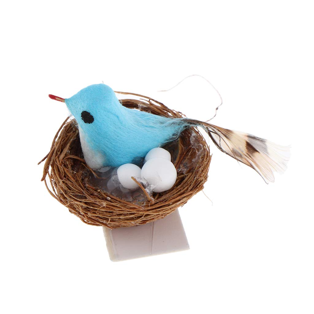 Dollhouse Miniature or Fairy Garden Bird Nest with 3 Blue Eggs