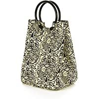 Fit & Fresh Retro Insulated Lunch Bag for Women with Ice Pack, Classic Lunch Tote for Work & School, Black & White Damask
