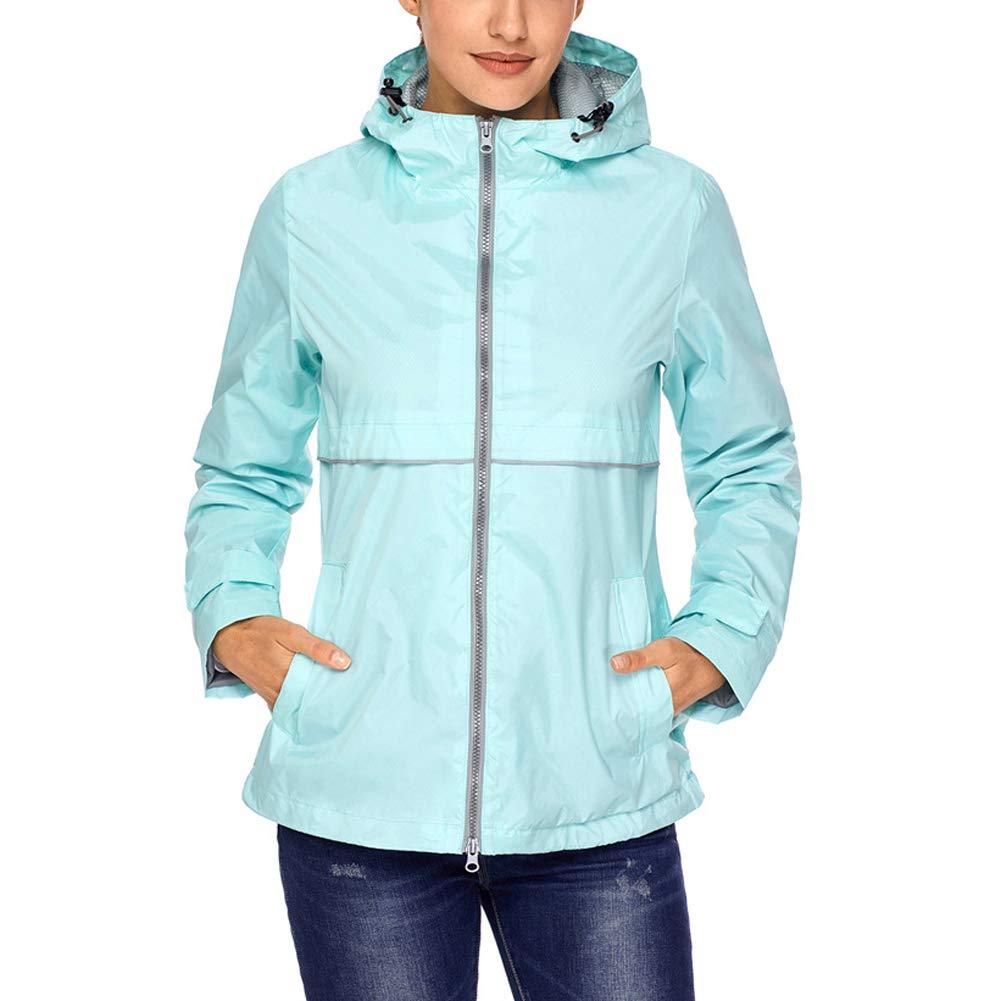 SNOW DREAMS Women's Waterproof Lightweight Windbreaker Outdoor Hooded Rain Jacket RKWT01