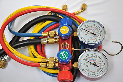4-Way Manifold Gauge Set w/4 Hoses, Red Blue Yellow and Black 2/8 Vacuum hose for R410a R22 R404a More retrofit Replacement Refrigerants Forged Aluminum Alloy Body Frame Sign Viewing Glass (Refrigerant 404a)
