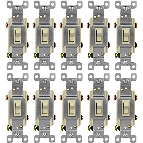 ENERLITES Toggle Light Switch, 3-Way or Single Pole, 15A 120-277V, Grounding Screw, Residential Grade, UL Listed, 83150-I-10PCS, Iovry (10 Pack)