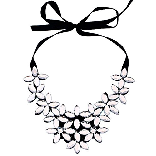 - Clearance Necklace,Han Shi Flower Ribbon Chain Pendant Crystal Choker Chunky Collar (White, L)