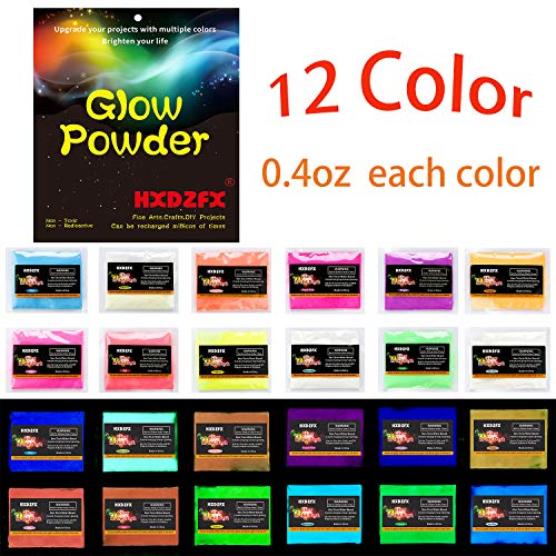 HXDZFX Glow in The Dark Pigment Powder Luminous Powder(Set of 12 Packs 0.4oz Each) Safe Non-Toxic,for Slime,Nails,Epoxy Resin,Acrylic Paint,Halloween,Fine Art and DIY Crafts -