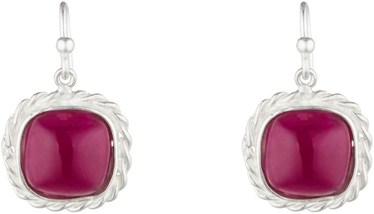 Córdoba Jewels | Pendientes en plata de ley 925 con piedra semipreciosa con diseño Square Nudo Amatista Silver