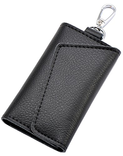 Zip Clutch Tri - Hereby Kuer Leather Simple Style Key Chain Coin Case Purse Card Holder Clutch Handbag(Black)