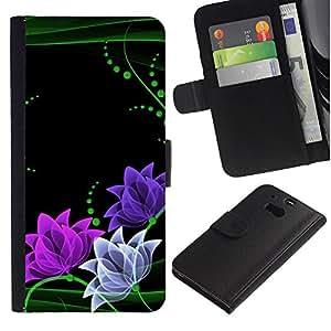 All Phone Most Case / Oferta Especial Cáscara Funda de cuero Monedero Cubierta de proteccion Caso / Wallet Case for HTC One M8 // Floral Flowers Minimalist Green Pink