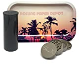 Bundle - 3 Items - SLX v2.0 2'' Grinder (Champagne Gold), Rolling Paper Depot Rolling Tray (Retro Palms) with Storage Container