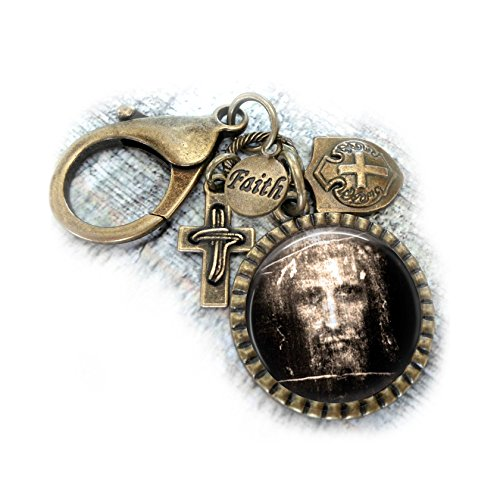 Jesus Shroud of Turin Keychain Backpack Clip - Purse Clip, Christian Gift, Mens, Boys, -