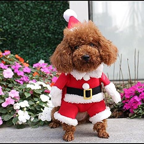 Rokoo Disfraz de mascota de Navidad Traje de perro con gorro de Santa Claus Escudo de capucha para perros pequeños Gatos Divertido perrito de fiesta de ...