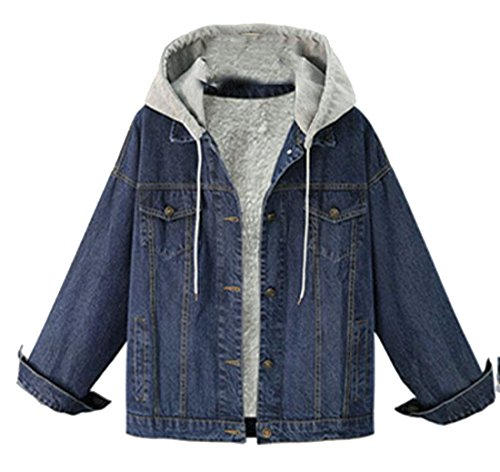 Stylish Denim Hooded UK Jacker Thicken Wool Button Blue Warm today Lamb Women Coat HzqxApAE