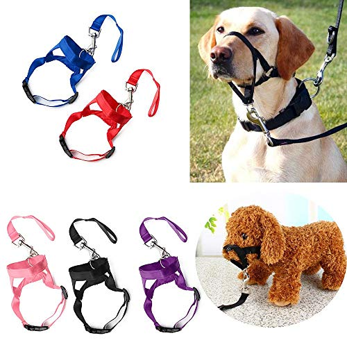 oceaneshop Adjustable Anti-Bite Nose Reigns Mask Puppy Head Collar Halter Pet Mouth Traction Set Dog Muzzle Strap Training