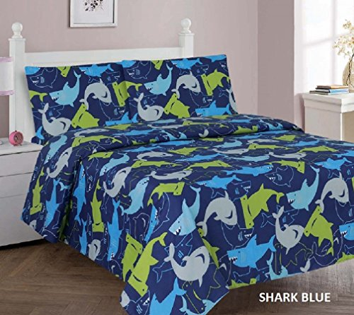Kids printed sheet set: Flat & fitted sheets with pillow cases. Choose from butterfly, Dinosaur, Shark, Princess, sports, sailor prints Twin or Full (Full, Shark Blue)