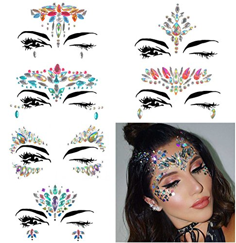 COKOHAPPY 6 Sets Rhinestone Mermaid Face Jewels Tattoo - BODY STICKERS Crystal Tears Gem Stones Bindi Temporary Stickers (Collection -