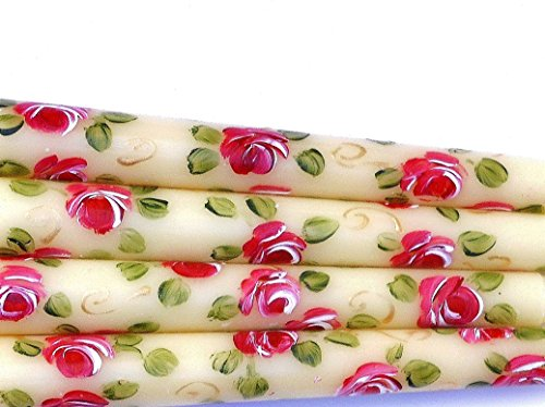 Painted Candle Hand Roses (Set of Two Short Ivory Taper Candles with Hand Painted Deep Pink Roses and Golden Swirls)