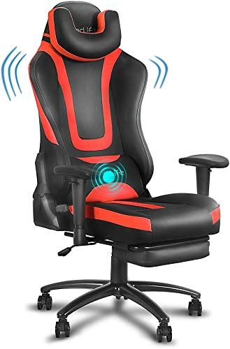 eclife Video Gaming Chair,Ergonomic Racing Task Chair,PU Leather Computer Desk Chair,Recliner W/Massage Lumbar Support Footrest Headrest Armrest Rolling Swivel Office Chair Red