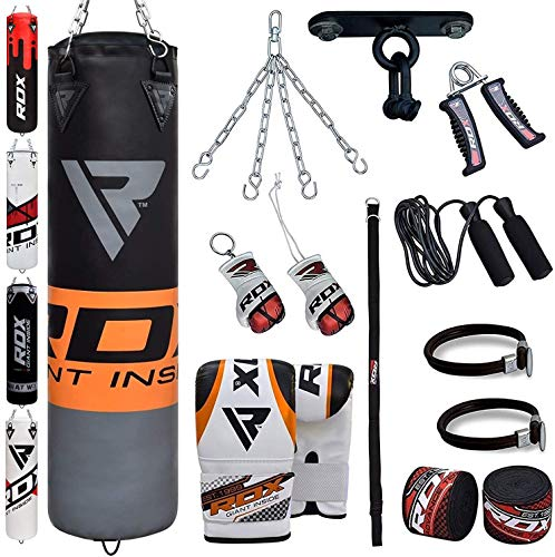 RDX Punch Bag for Boxing Training | Filled Heavy Bag Set with Punching Gloves, Chain, Ceiling Hook | Great for Grappling, MMA, Kickboxing, Muay Thai, Karate, BJJ & Taekwondo | 13 pcs Comes in 4FT/5FT (Best Mma Gloves For Heavy Bag)