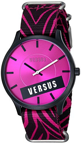 Versus by Versace Women's SO6100014 Less Aluminum and Stainless Steel Watch with Zebra-Print Canvas - Versace Zebra