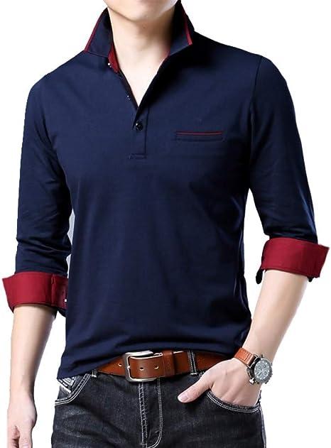 NISHIPANGZI Nuevo Polo Camisa Casual algodón Color sólido Me ...