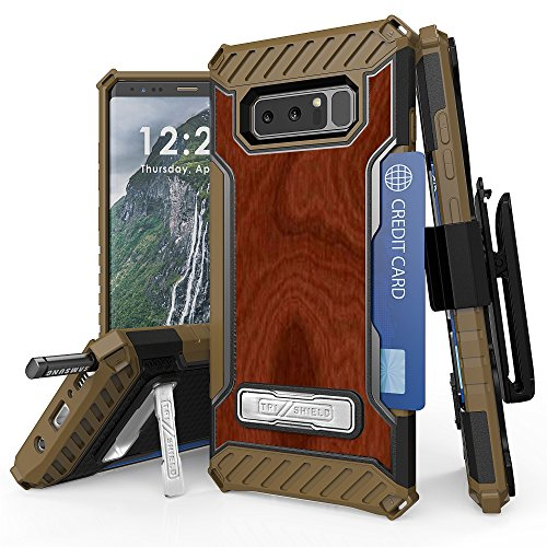 Galaxy Note 8 Case, Trishield Durable Rugged Heavy Duty Phone Cover With Detachable Lanyard Loop Belt Clip Holster And Built in kickstand Card Slot For Note 8 – Wood Brown