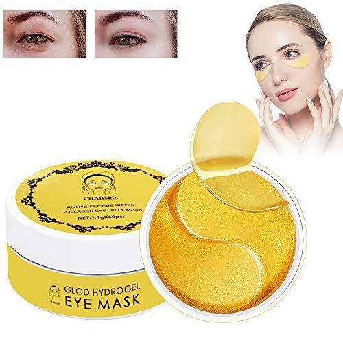 Eye Mask, Augenpads anti aging, Charmas Augenmaske,Collagen Golden Maske,Augenpflege mit Hyaluron, Entfernen Taschen, Feuchtigkeit Spendende, Dunkle Kreise & Puffiness (60pcs, Gold)