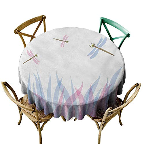 StarsART Round Tablecloth Plaid Dragonfly,Nature Themed Colorful Birds Like Bugs Flies on Flame Abstract Image,Violet Pink and Blue D50,Spillproof Fabric Tablecloth