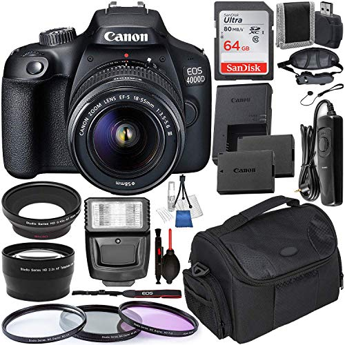 Canon EOS 4000D DSLR Camera with EF-S 18-55mm f/3.5-5.6 III Lens with Deluxe Accessory Bundle – Includes: Spare Battery – Digital Slave Flash – Wired Remote – Camera Carry Case and Much More