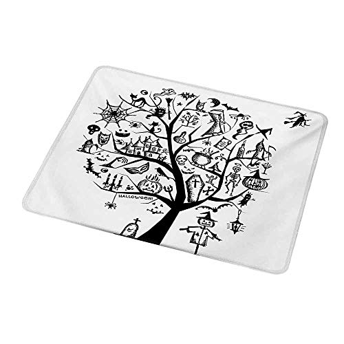 Mouse Pad Halloween,Sketchy Spooky Tree with Spooky Design Objects and Wicked Witch Broom Abstract,Black White,Non-Slip Thick Rubber Mousepad Mat 9.8