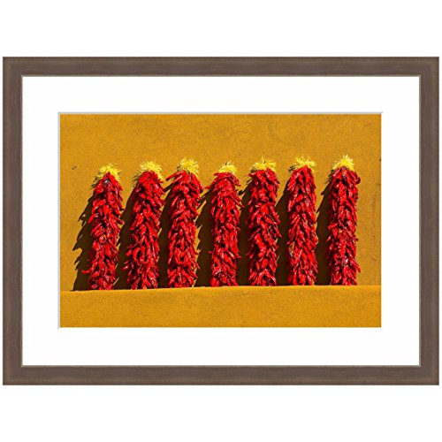 Cheap eFrame Fine Art | Red Chile Peppers, New Mexico, Southwest Food Kitchen Art 1 of 4 by Blaine Harrington 16″ x 24″ Photograph Print Framed Wall Art for Wall or Home Decor (Barnwood Brown Rustic Frame)