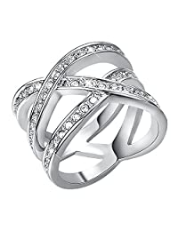 Yoursfs Criss Cross Twisted Ring Sparkly 18k White Gold Plated Eternity Ring Use Austrian Crystal Engagement Ring for Women