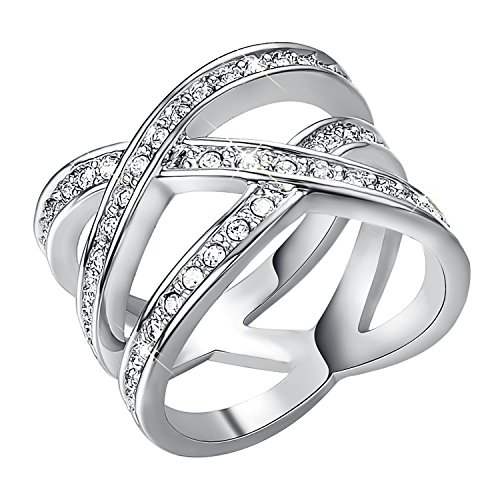 0.5' Double Band - Yoursfs Cross Ring Double Cross CZ Paved 18k White Gold Plated Party Cocktail Rings Band for Girls