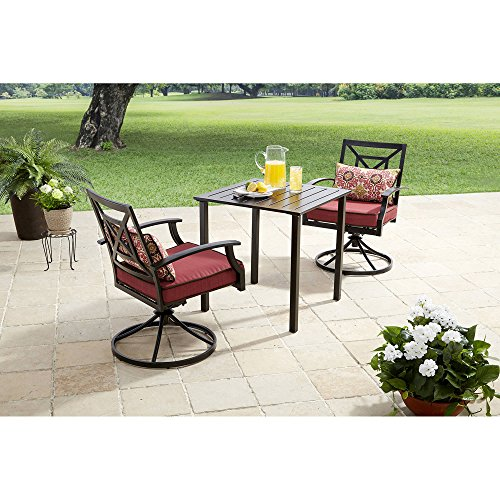 Better Homes and Gardens Carter Hills 3-Piece Outdoor Bistro Set, Seats 2 (Maroon) by Better Homes and Gardens