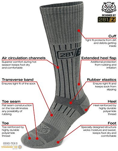 281Z Military Boot Socks - Tactical Trekking Hiking - Outdoor Athletic Sport (Foliage Green) - stylishcombatboots.com