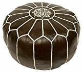 Moroccan Embroidered Leather Pouf, Coffee (Stuffed)