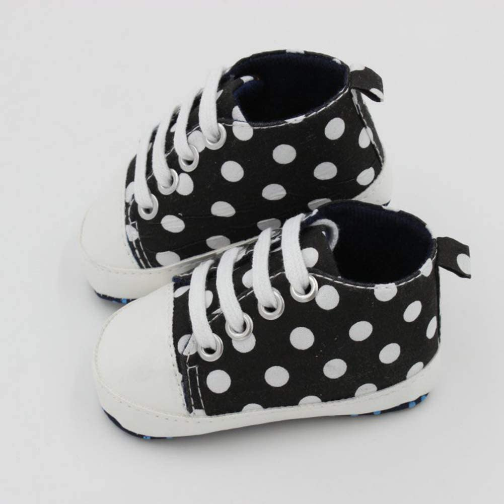 Toddler Baby Unisex Fashion Dots Lace Up Soft Sole Anti-Slip Shoes Prewalkers Red 13cm