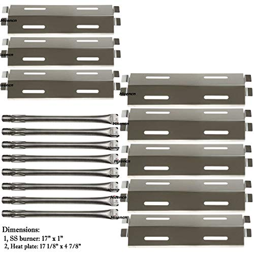 (Hisencn 8Pack Repair Kit Stainless Steel Grill Burners,Heat Plates, Heat Shield Replacement for Bakers and Chefs GR2039201-BC-00, GD430, ST1017-012939, Grill Chef, Members Mark Gas Grill Models)
