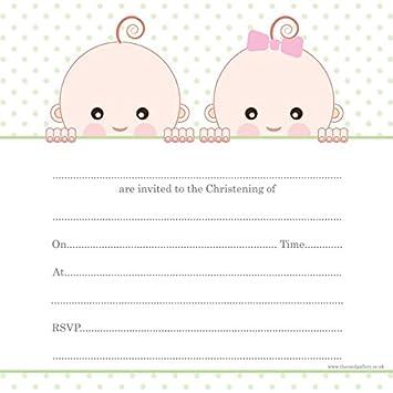 Einladungskarten Zur Taufe, Zwillinge, 10 Stück
