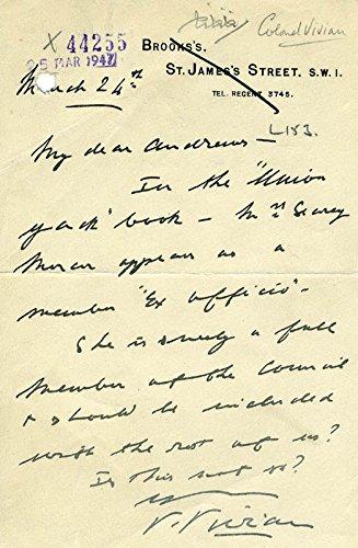 Valentine Vivian Autograph Letter Signed 03/24/1947