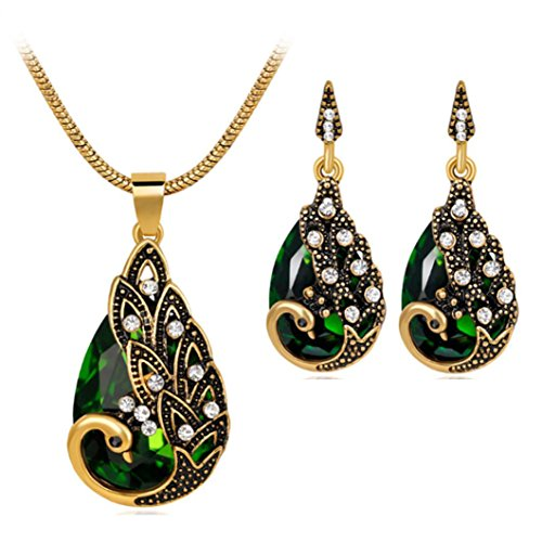 Usstore® Women's Necklace Earring Sets, Retro Peacock Pendant Chain Jewels Friend Gifts (Green)