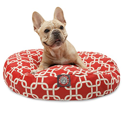 Red Links Small Round Indoor Outdoor Pet Dog Bed With Removable Washable Cover By Majestic Pet (Links Pillow)