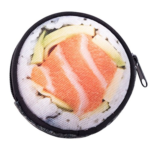 Geldbeutel Runde Geldbörse mit Reißverschluss Taschenorganizer Münzbörse Sushi [041]