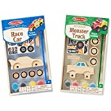 Melissa & Doug Decorate-Your-Own Wooden Craft Kits Set - Race Car and Monster Truck