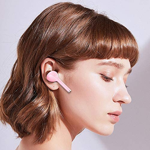 Wireless Bluetooth 5.0 Earbuds Headset Mini in-Ear Noise Canceling Sport Headphones with Charging Case,TWS Stereo Touch Control Waterproof Earphones Built-in Mic for Workout/Running/Gym (Pink)