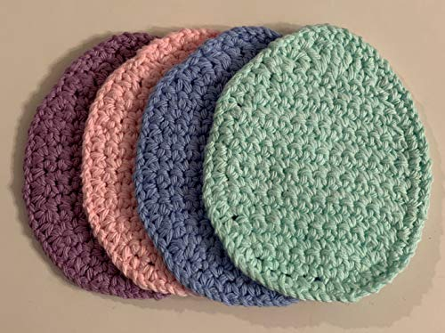 Hand Crocheted Pastel Easter Egg shaped Coasters - set of 4 - Free Shipping