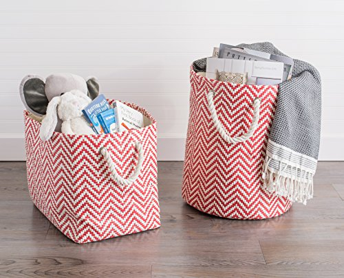 """DII Woven Paper Storage Basket or Bin, Collapsible & Convenient Home Organization Solution for Office, Bedroom, Closet, Toys, & Laundry (Small - 11x10x9""""), Rust Chevron by DII (Image #8)"""