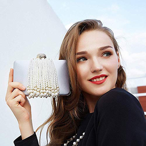 Bag Party Pink Clutches Superw Clutch Prom Handbag Bag Women Fashion Evening Beaded Tassel Pearl Crossbody Purse Satin Bags q1HpHFA
