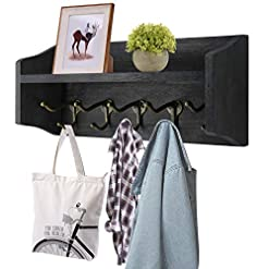 Entryway Coat Hooks with Shelf Wall-Mounted, Rustic Wood Entryway Shelf with 5 Vintage Metal Hooks, Farmhouse Mounted Coat Rack…